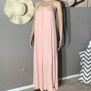 Mossimo Size XL Pleated Pink Maxi Halter Dress